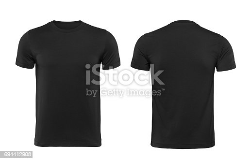 istock Black t-shirt, front and back isolated on white background with clipping path 694412908