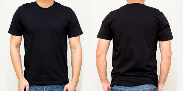 black t-shirt front and back, mock up template for design print - t shirt stock pictures, royalty-free photos & images