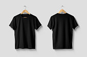 istock Black T-Shirt Mock-up on wooden hanger, front and rear side view. 1218949014