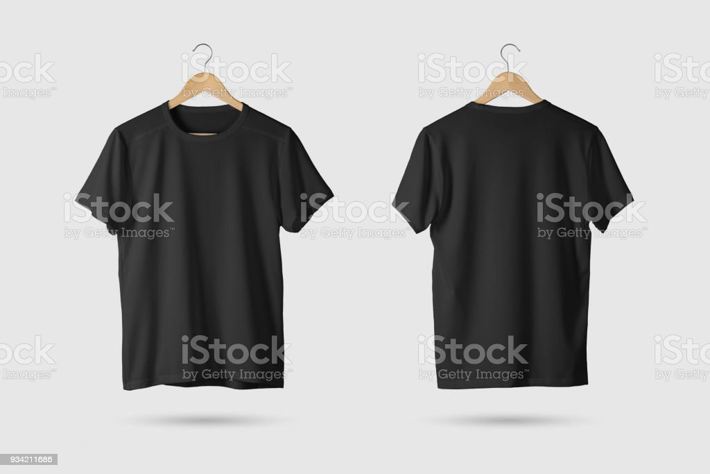 Black T-Shirt Mock-up on wooden hanger, front and rear side view. stock photo