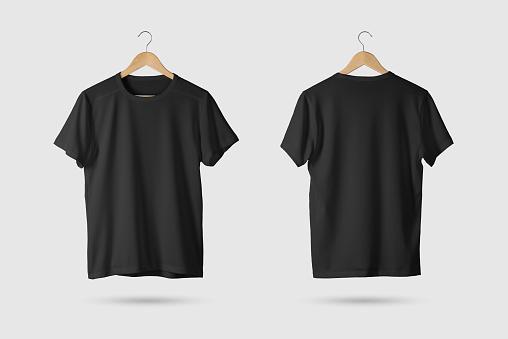 Siyah Tshirt Mockup Ahşap Askı Ön Ve Arka Yan Görünüm Stok Fotoğraflar & Ahşap'nin Daha Fazla Resimleri