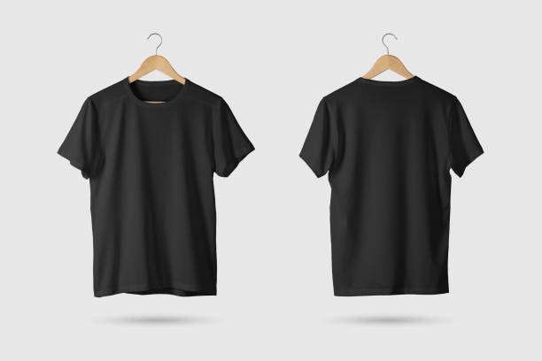 black t-shirt mock-up on wooden hanger, front and rear side view. - t shirt stock photos and pictures
