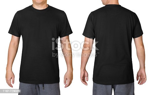 istock Black t-shirt on a young man isolated on white background. Front and back view. 1161729039