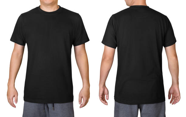 Black t-shirt on a young man isolated on white background. Front and back view. Black t-shirt on a young man isolated on white background. Front and back view. black shirt stock pictures, royalty-free photos & images