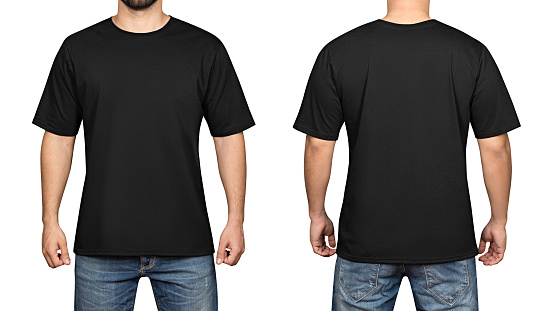 istock black t-shirt on a young man white background, front and back 685889060