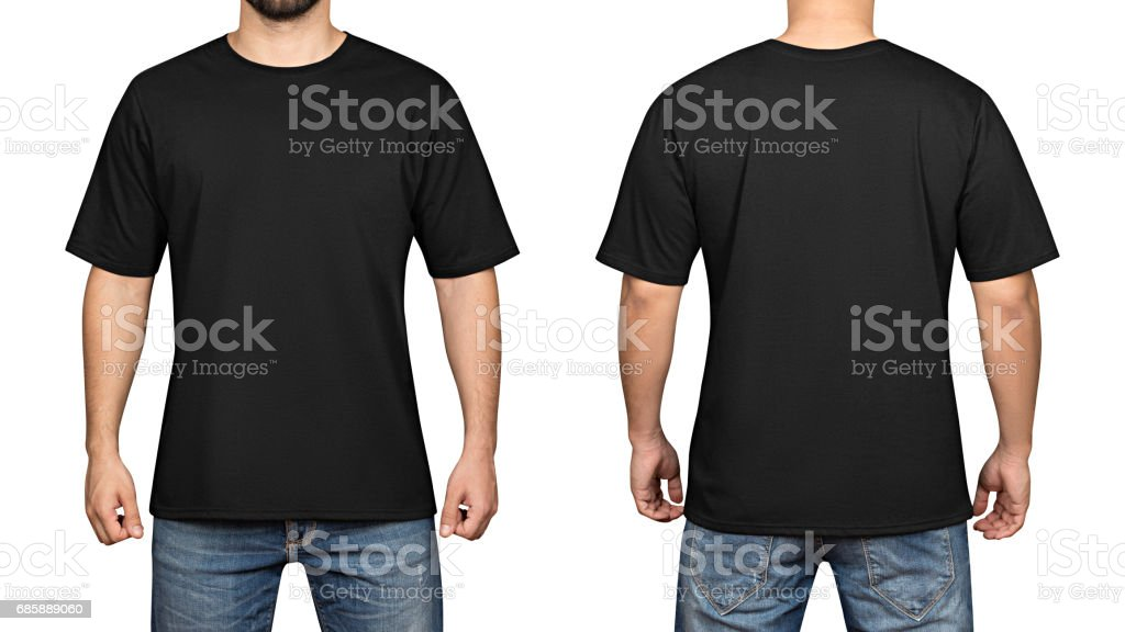 black t-shirt on a young man white background, front and back stock photo