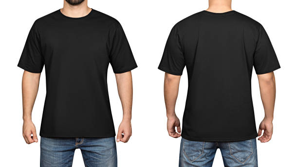 black t-shirt on a young man white background, front and back - foto stock