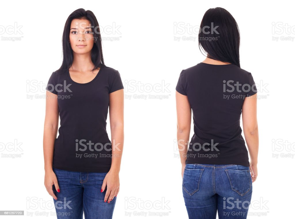 Black t-shirt on a young woman template stock photo