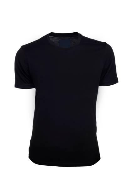 Black Tshirt On White Background Black Tshirt On White Background black shirt stock pictures, royalty-free photos & images