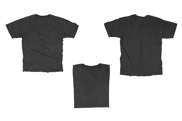 """Black T-Shirt """"T-Shirt in 3 different views, isolated on white."""" black shirt stock pictures, royalty-free photos & images"""