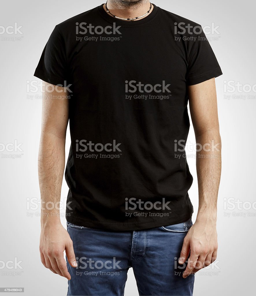 Black T-Shirt (Clipping Path) stock photo