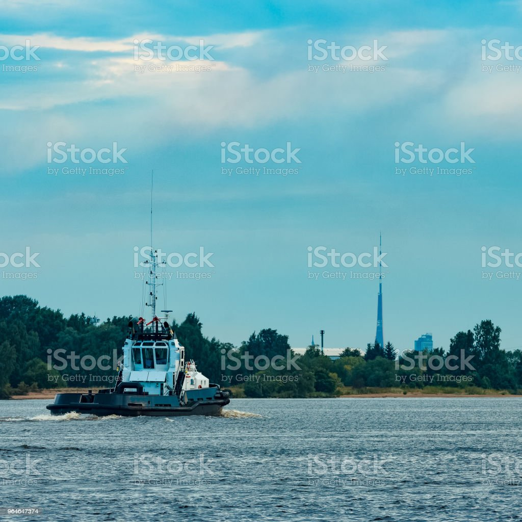 Black tug ship underway royalty-free stock photo
