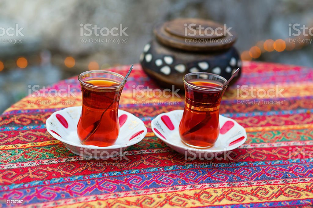 Black Turkish tea in traditional glasses royalty-free stock photo