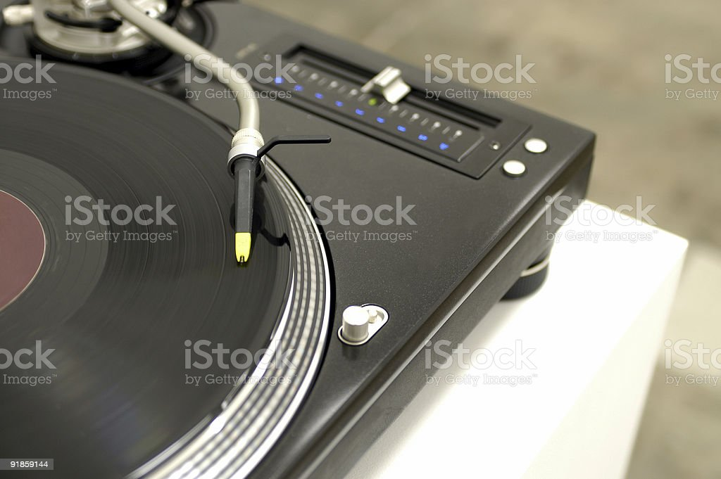 Black Turntable and Tonearm royalty-free stock photo