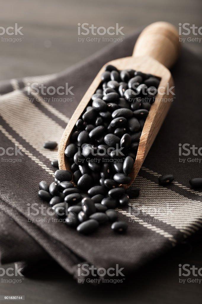black turtle beans legumes in scoop stock photo