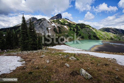 Black Tusk viewed from Panorama Ridge in summer in Squamish, BC, Canada