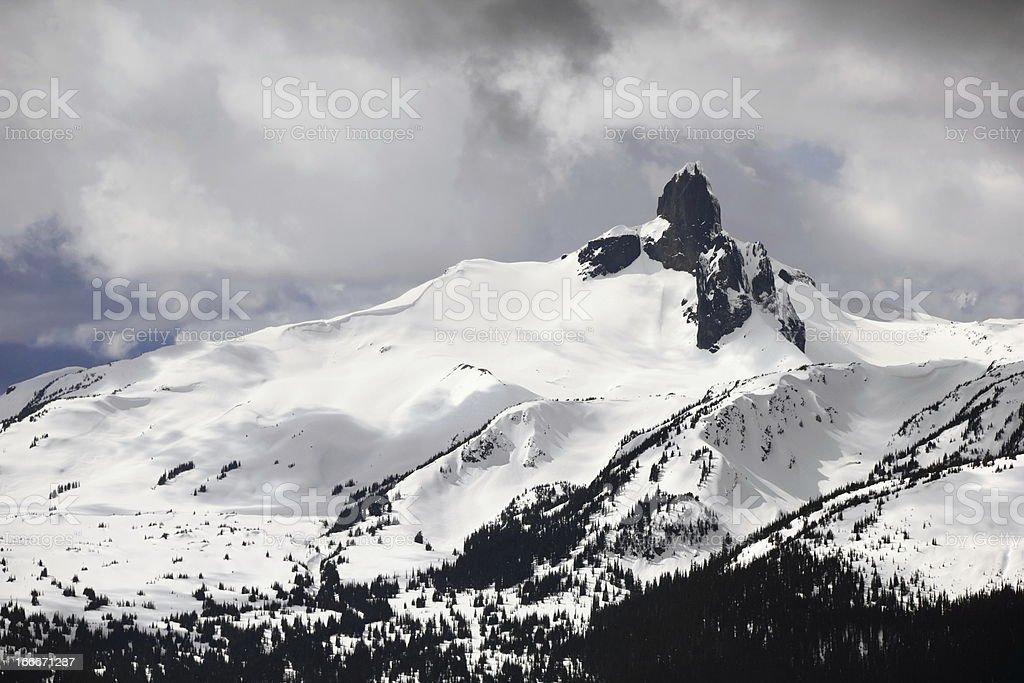 Black Tusk Peak, Garibaldi Provincial Park  from Whistler Mountain stock photo