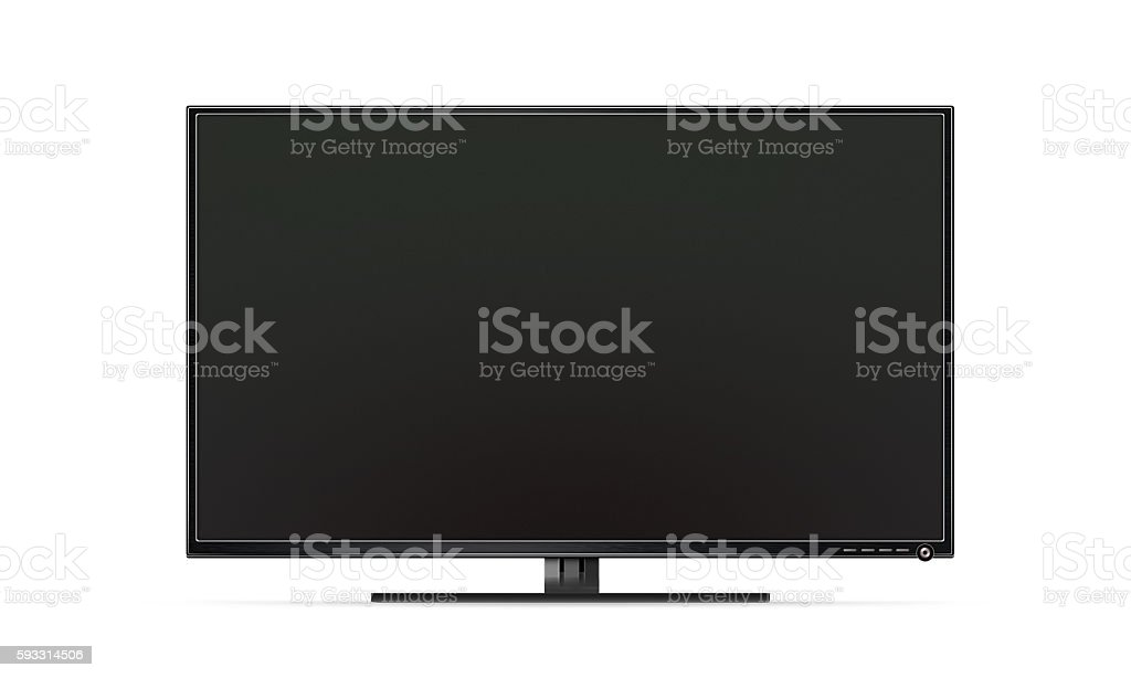 Black TV flat screen isolated, realistic illustration stock photo