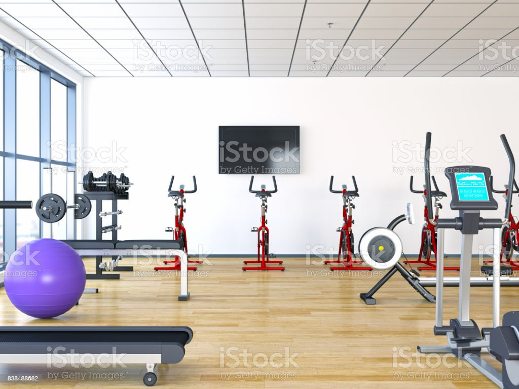 Black TV flat screen mock up on the wall in GYM with clipping path TV stock photo