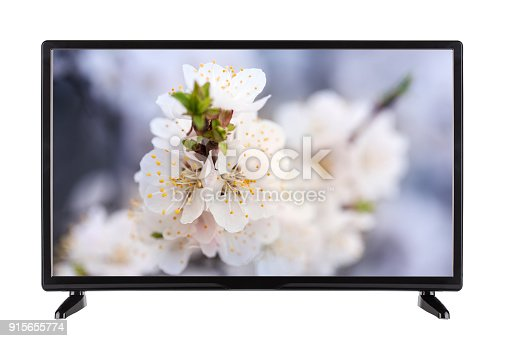 Black TV with  picture on the monitor of the landscape of  blooming spring branch