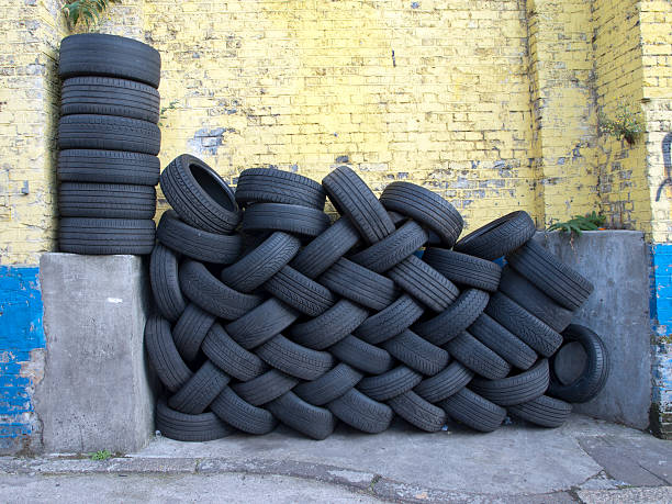 Black tyres stock photo