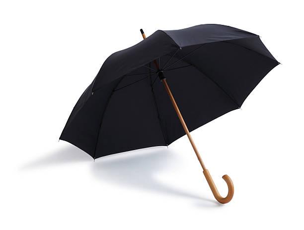 Black Umbrella Isolated on a White Background stock photo