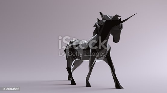 istock Black Unicorn made out of triangles 923690846