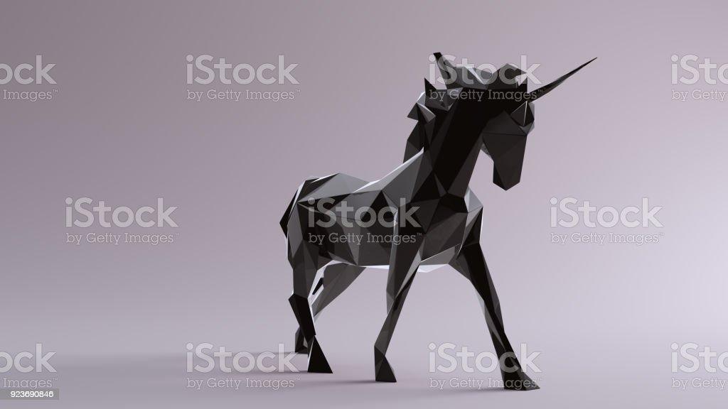 Licorne noire faite de triangles - Photo