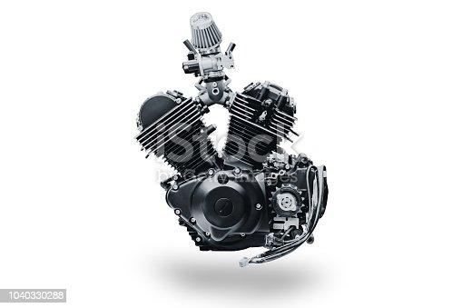 black V shape vintage motorcycle engine isolated on white background