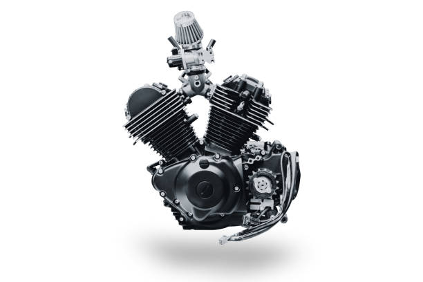 black V shape vintage motorcycle engine isolated on white background black V shape vintage motorcycle engine isolated on white background vehicle part stock pictures, royalty-free photos & images