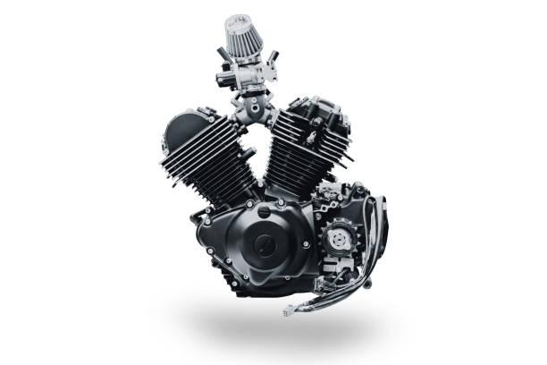 black V shape vintage motorcycle engine isolated on white background stock photo