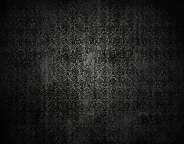 black vicorian wallpaper background, retro floral texture - victorian style stock photos and pictures