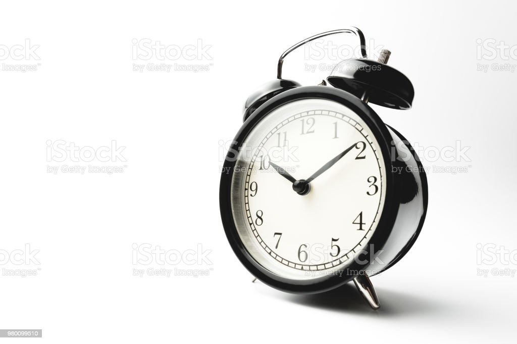 Black Vintage Alarm Clock Isolated On White Background Show