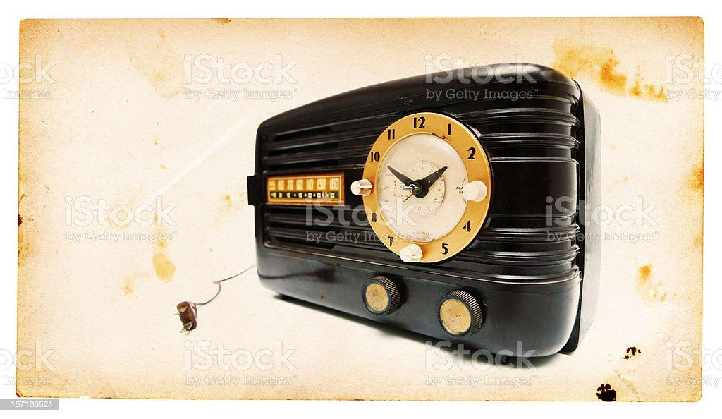 Black Vintage Clock Radio royalty-free stock photo
