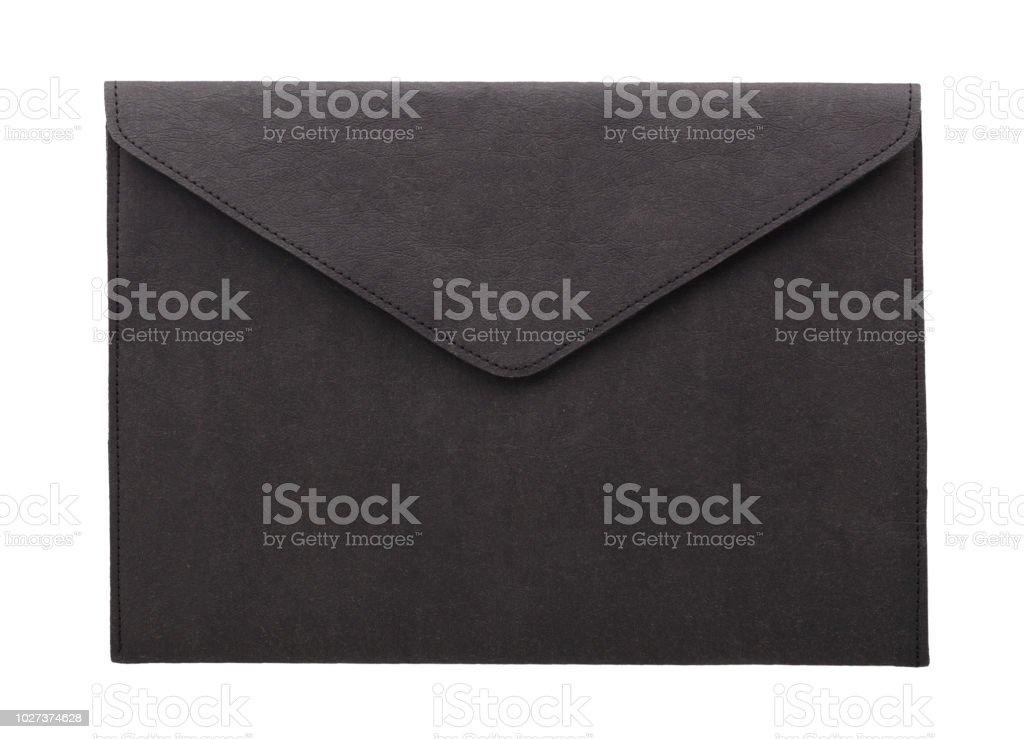 ブラック ヴィンテージ封筒が分離されました。 ストックフォト