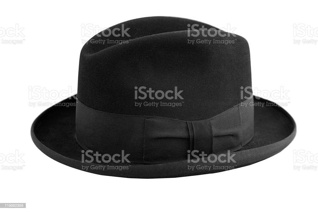 black vintage hat, gentleman icon stock photo