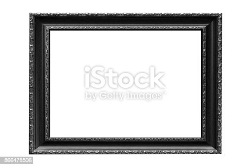 914465180 istock photo Black vintage picture frame isolated on white background. 866478506