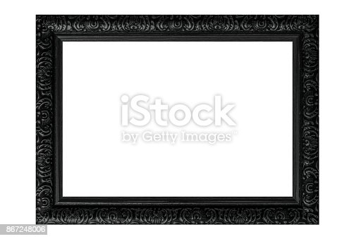 914465180 istock photo Black vintage picture frame isolated on white background. 867248006