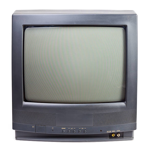 Black vintage television set on white background stock photo
