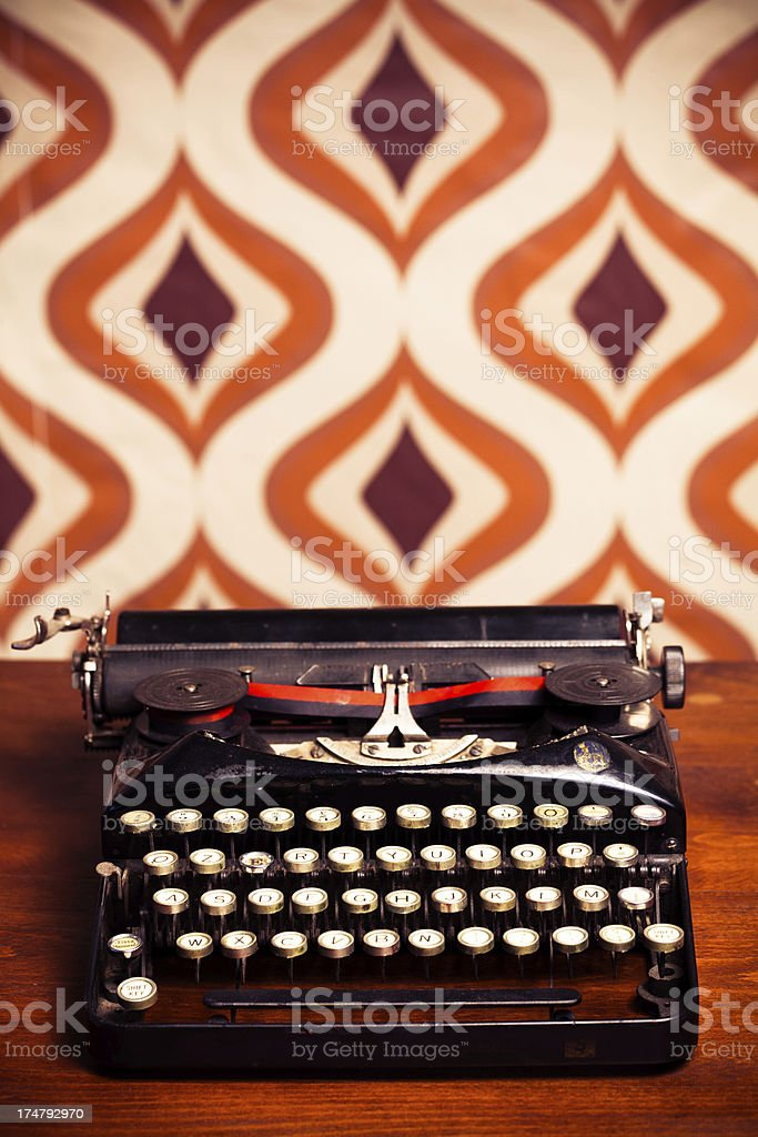 Black Vintage Typewriter with Copy Space royalty-free stock photo