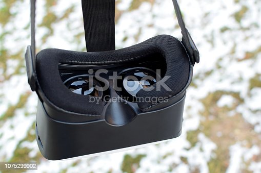 istock Black virtual reality gaming headset 1075299902