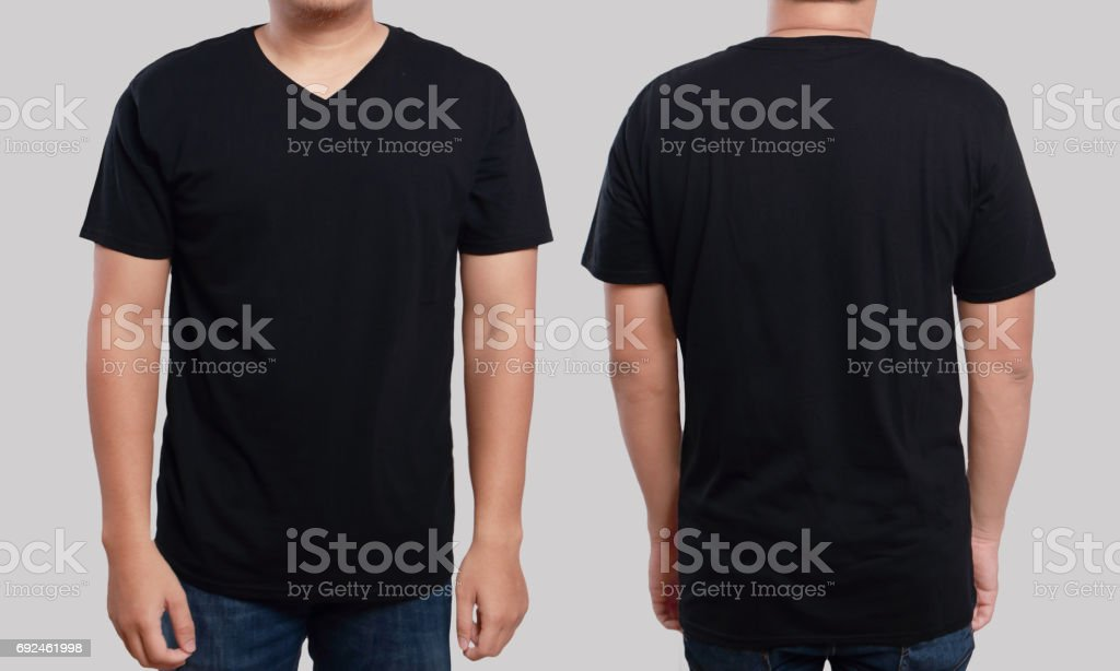 Black V-Neck Shirt Design Template stock photo