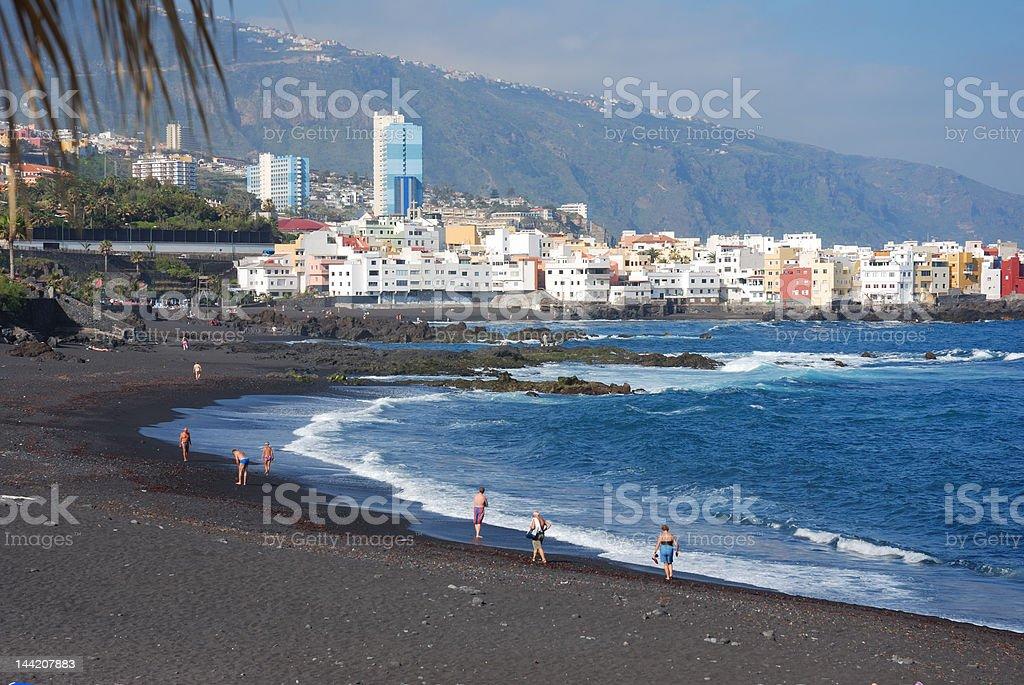 black volcanic beach at puerto cruz, Tenerife, Canary Islands stock photo