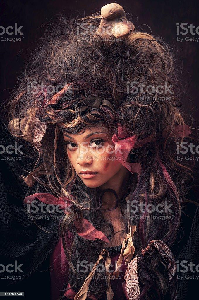 Black Voodoo Queen portrait - II stock photo