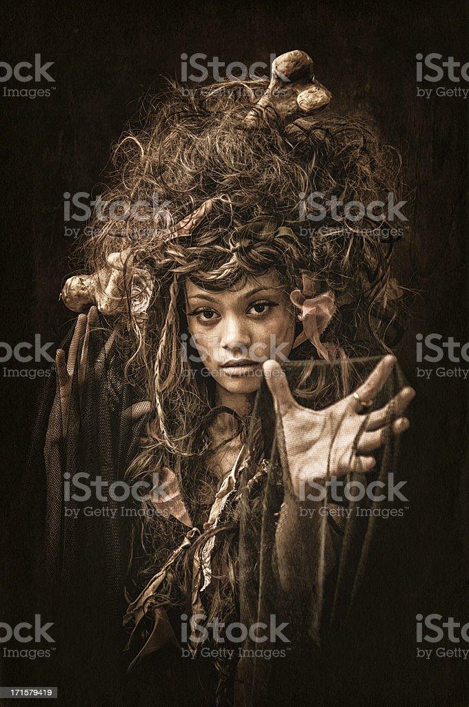 Black Voodoo Queen portrait - IV stock photo