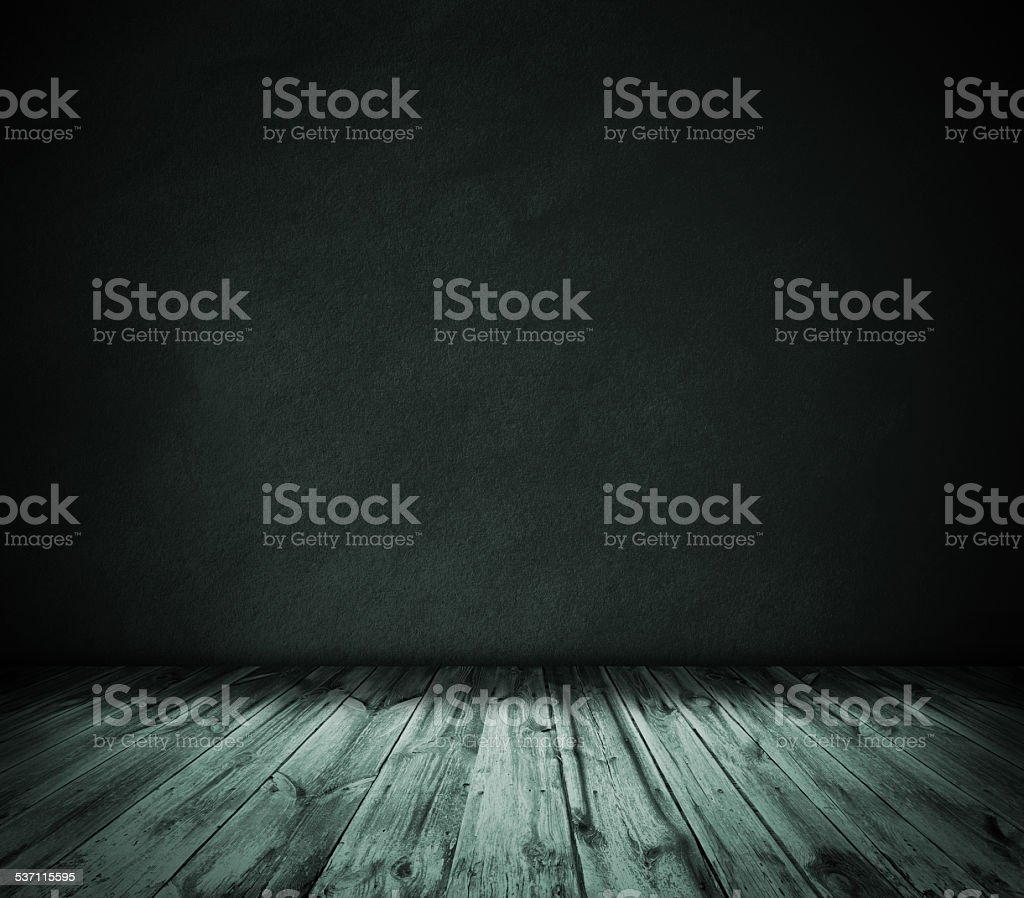 Black wall and wooden floor interior background stock photo