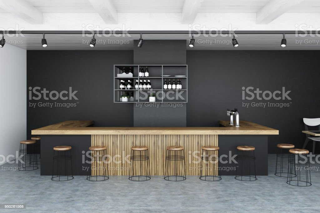 Black wall bar interior stock photo
