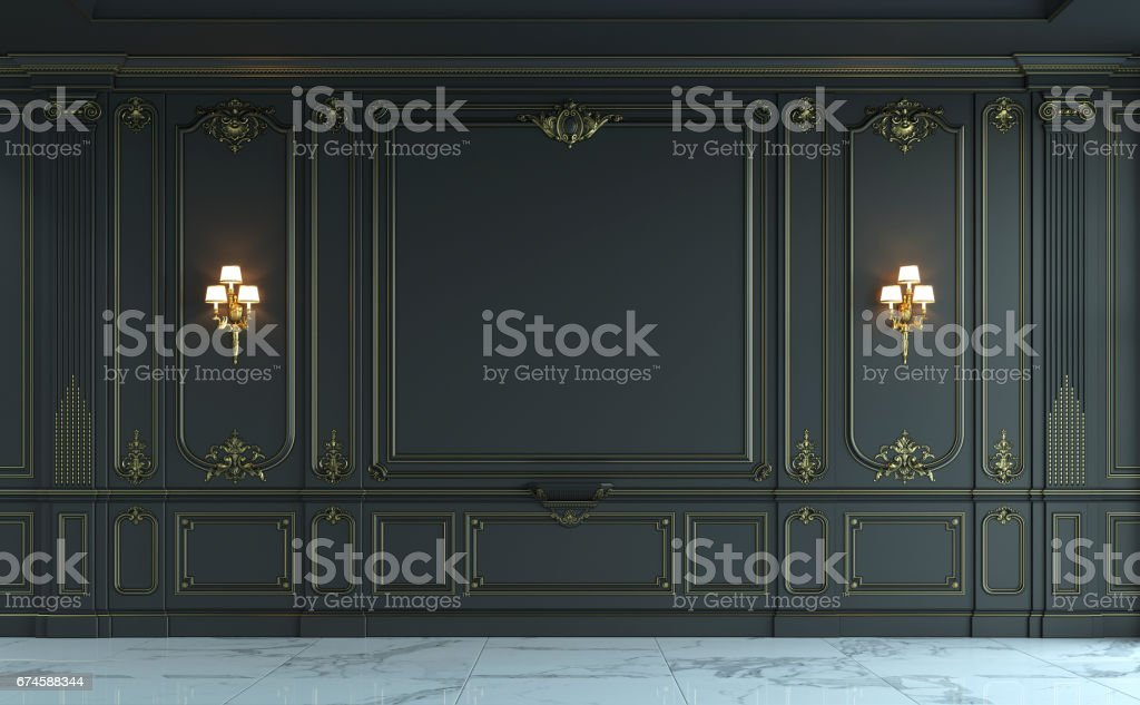 Black wall panels in classical style with gilding. 3d rendering stock photo