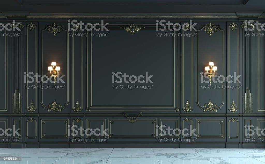 Paneles de pared negro estilo clásico con dorado. Render 3D - foto de stock