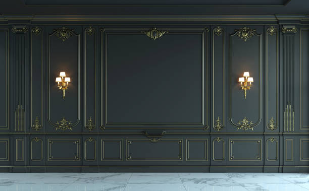 black wall panels in classical style with gilding. 3d rendering - baroque stock photos and pictures